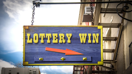 Street Sign the Direction Way to Lottery Win Stock Photo