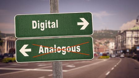 Street Sign the Direction Way to Digital versus Analogous Imagens - 121916260