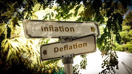 Street Sign the Direction Way to Inflation versus Deflation Stock fotó