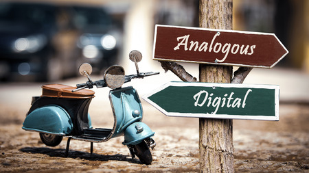 Street Sign the Direction Way to Digital versus Analogous Stock Photo