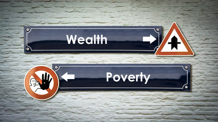 Street Sign the Direction Way to Wealthy versus Overty