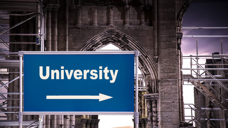 Street Sign the Direction Way to University