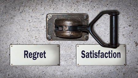 Wall Switch the Direction Way to Satisfaction versus Regret Reklamní fotografie