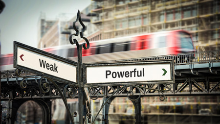 Street Sign the Direction Way to Powerful versus Weak Stock Photo