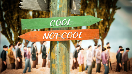 Street Sign the Direction Way to Cool versus Uncool Stock Photo