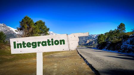Straßenschild Richtung Weg zur Integration