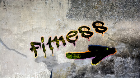 Wall Graffiti the Direction Way to Fitness Stock Photo