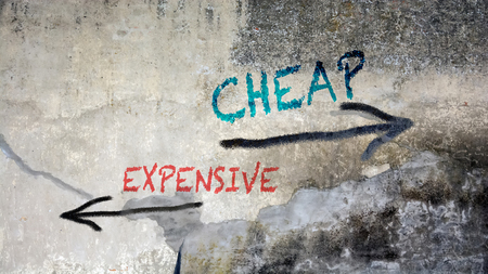 Wall Graffiti the Direction Way to Cheap versus Expensive