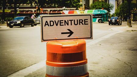 Street Sign the Direction Way to to Adventure Zdjęcie Seryjne - 122968381