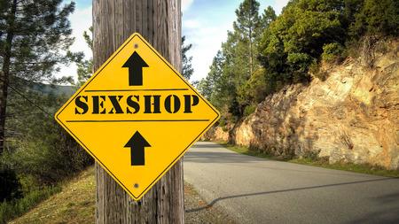 Street Sign the Direction Way to Sexshop Foto de archivo