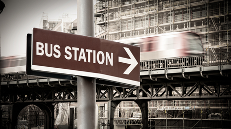 Street Sign the Direction Way to Bus Station Stock Photo