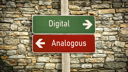 Street Sign the Direction Way to Digital versus Analogous