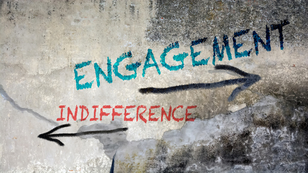 Wall Graffiti the Direction Way to Engagement versus Indifference Imagens - 124901148
