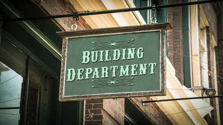 Street Sign the Direction Way to Building Department