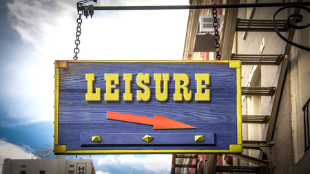 Street Sign the Direction Way to Leisure Stock Photo