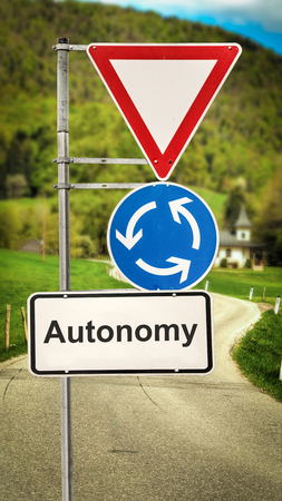 Street Sign the Direction Way to Autonomy Stock Photo