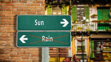 Cartel de la calle la dirección camino al sol frente a la lluvia