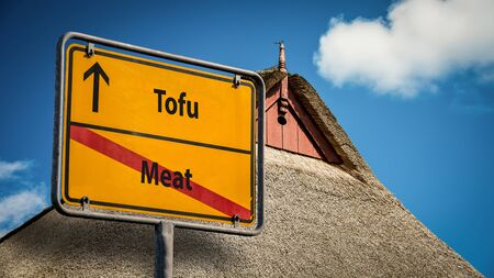 Street Sign the Direction Way to Tofu versus Meat