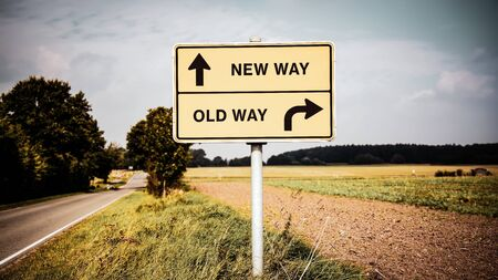 Street Sign the Direction Wy to NEW WAY versus OLD WAY Stok Fotoğraf