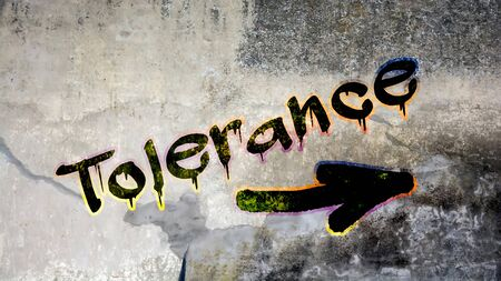 Wall Graffiti the Direction Way to Tolerance Banco de Imagens - 124908521