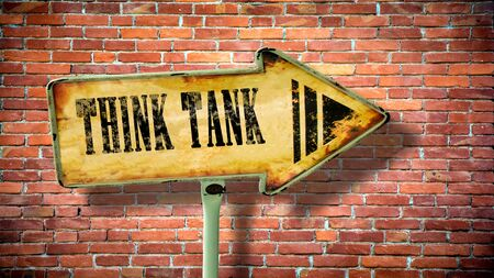 Street Sign the Direction Way to Think Tank