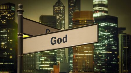 Street Sign the Direction Way to God Stock Photo