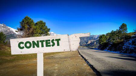 Street Sign the Direction Way to Contest Zdjęcie Seryjne