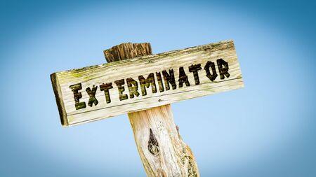 Street Sign the Direction Way to Exterminator Zdjęcie Seryjne