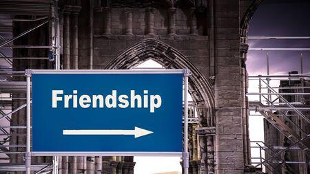 Street Sign the Direction Way to Friendship Zdjęcie Seryjne