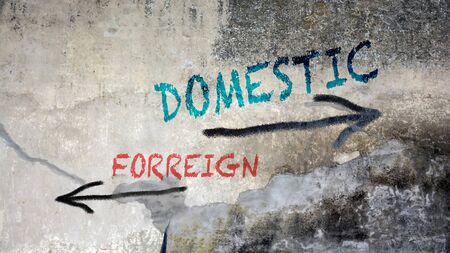 Wall Graffiti the Direction Way to Domestic versus Foreign
