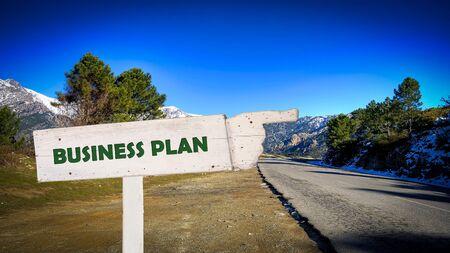 Street Sign the Direction Way to Business Plan Zdjęcie Seryjne
