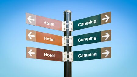 Street Sign the Direction Way to Camping versus Hotel