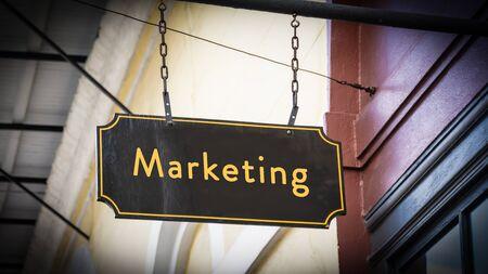 Street Sign the Direction Way to Marketing Zdjęcie Seryjne