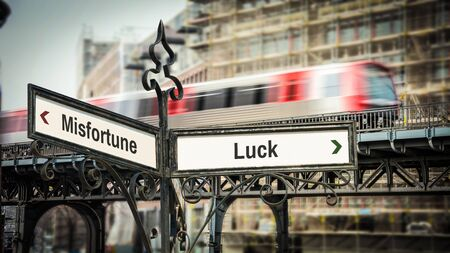 Street Sign the Direction Way to Luck versus Misfortune 스톡 콘텐츠