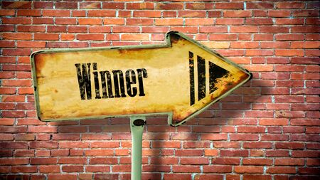 Street Sign the Direction Way to Winner 스톡 콘텐츠
