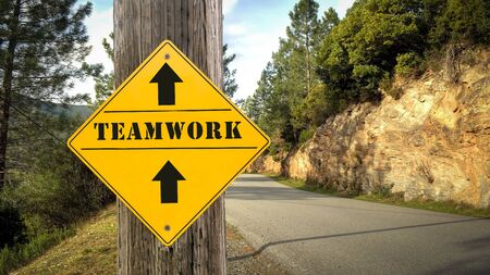 Street Sign the Direction Way to Teamwork