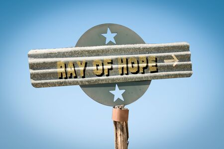 Street Sign the Direction Way to Ray of Hope Imagens