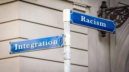 Street Sign the Direction Way to Integration versus Racism Banco de Imagens - 125626346
