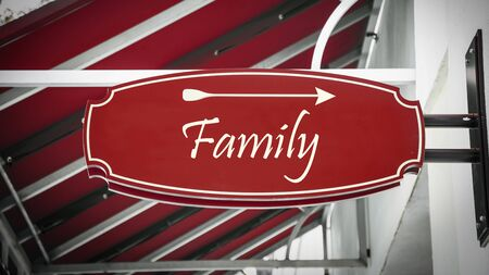 Street Sign the Direction Way to Family