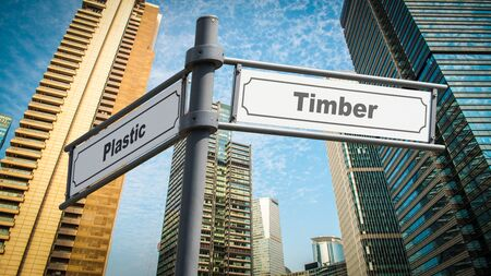 Street Sign the Direction Way to Timber versus Plastic Standard-Bild
