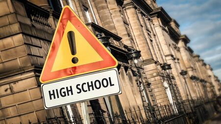 Street Sign the Direction Way to High School