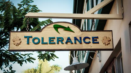 Street Sign the Direction Way to Tolerance Banco de Imagens - 126611310