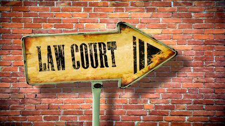 Street Sign the Direction Way to Law Court