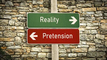 Street Sign the Direction Way to Reality versus Pretension 免版税图像 - 126845607