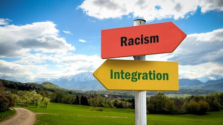Street Sign the Direction Way to Integration versus Racism Banco de Imagens - 127287801