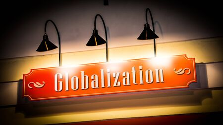 Street Sign the Direction Way to Globalization 写真素材