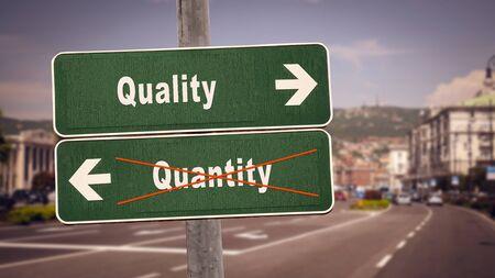 Street Sign the Direction Way to Quality versus Quantity Фото со стока - 127444798