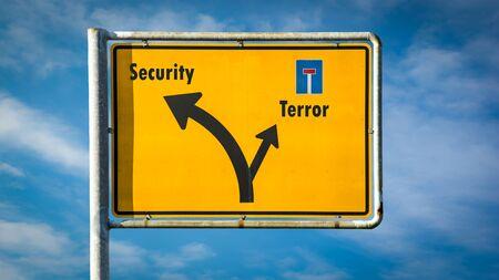 Street Sign the Direction Way to Security versus Terror Stockfoto