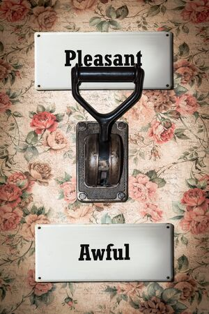 Street Sign the Direction Way to Pleasant versus Awful 스톡 콘텐츠