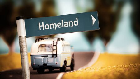 Straßenschild Richtung Weg zur Heimat